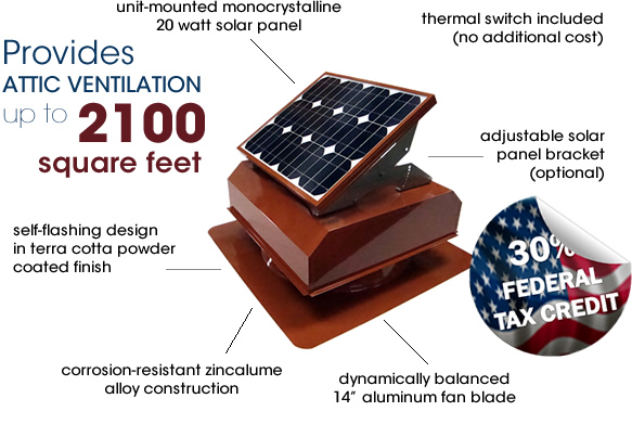 Attic Breeze AB-202A solar attic fan in terra cotta powder coated finish