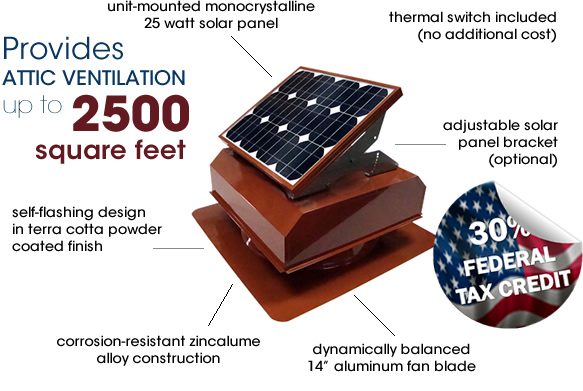 Attic Breeze AB-252A solar attic fan in terra cotta powder coated finish