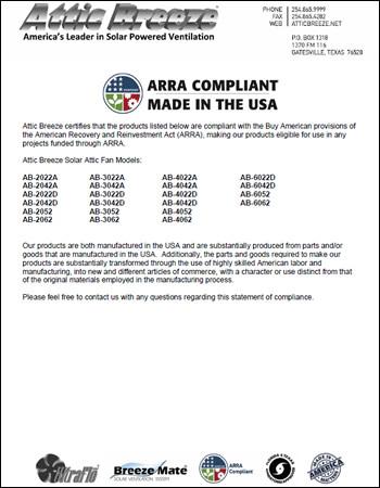Arra Compliance Letter