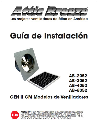 Attic Breeze Generation 2 GM model series installation guide - Spanish