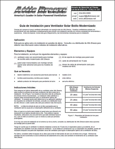 Attic Breeze Generation 1 GM model series installation guide - Spanish