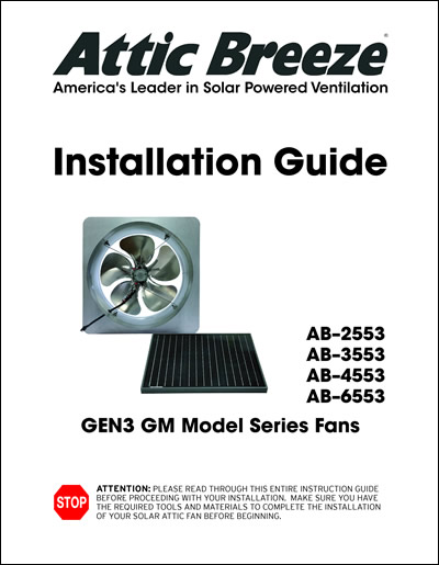Attic Breeze Generation 1 GM model series installation guide - English