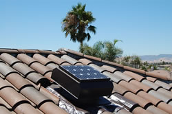 CMA model fan installed on barrel tile roof