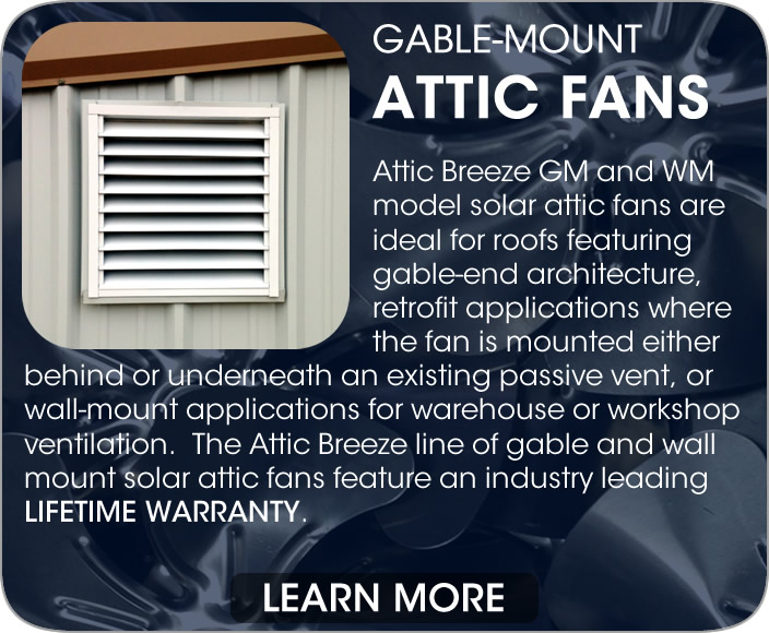 Attic Breeze Gable Mount And Wall Solar Fans